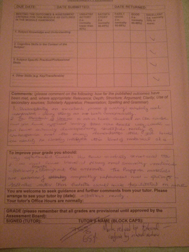 An image of the feedback sheet pertaining to Chris Larham's essay examining the extent to which women are shackled by patriarchy in Shakespeare's plays [65%, 2008].