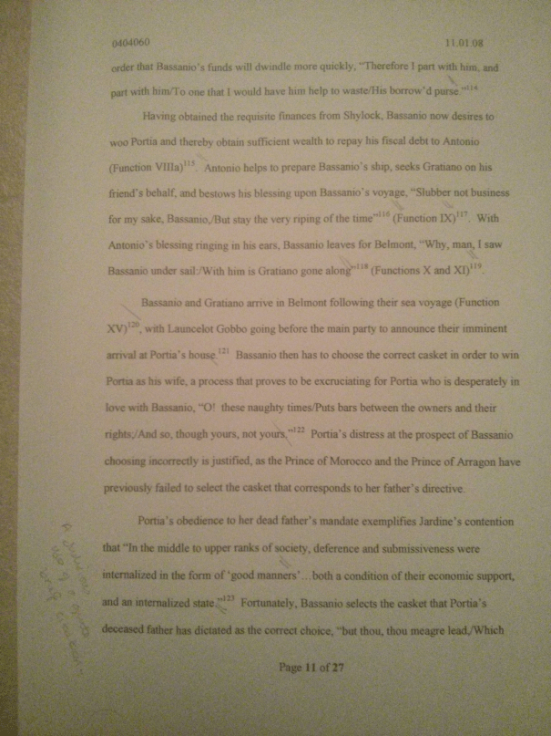 Image of the eleventh marked page of Chris Larham's essay examining the extent to which women are shackled by patriarchy in Shakespeare's plays [65%, 2008].