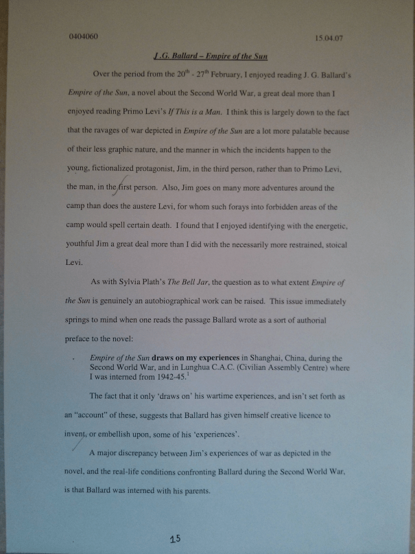 Image of the fifteenth page of Chris Larham's journal [65%, 2007] submitted as part of the 'Writing Selves: Understanding Autobiography' module.