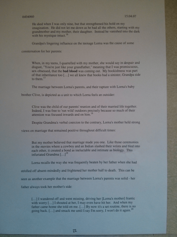 Image of the twenty-second page of Chris Larham's journal [65%, 2007] submitted as part of the 'Writing Selves: Understanding Autobiography' module.