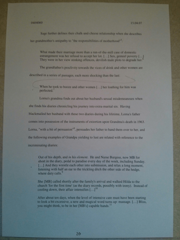 Image of the twentieth page of Chris Larham's journal [65%, 2007] submitted as part of the 'Writing Selves: Understanding Autobiography' module.