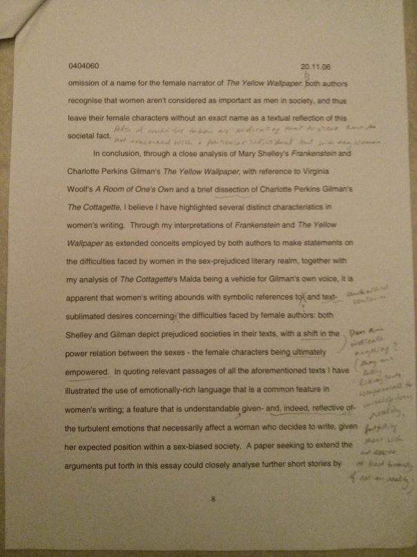 An image of the eighth marked page of Chris Larham's essay examining whether or not there are distinct characteristics in women's writing [70%, 2006].