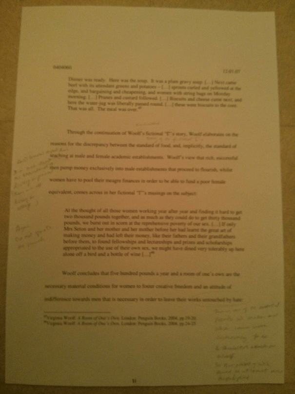 Image of the eleventh marked page of Chris Larham's essay discussing the representation of women's experience within the patriarchal scheme of things [68%, 2007].