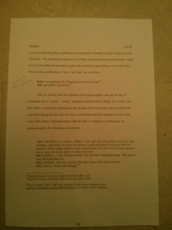 Image of the fifteenth marked page of Chris Larham's essay discussing the representation of women's experience within the patriarchal scheme of things [68%, 2007].