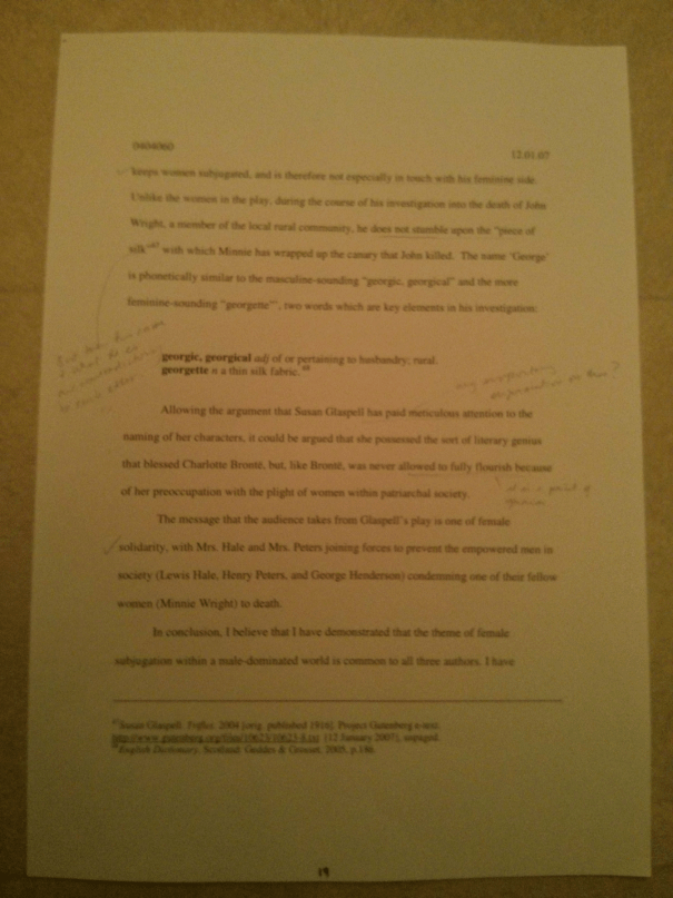 Image of the nineteenth marked page of Chris Larham's essay discussing the representation of women's experience within the patriarchal scheme of things [68%, 2007].