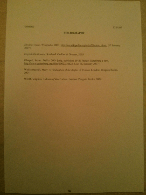 Image of the tweny-first marked page of Chris Larham's essay discussing the representation of women's experience within the patriarchal scheme of things [68%, 2007].