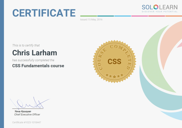 Image of Chris Larham's certificate of completion for SoloLearn's 'CSS Fundamentals' course [2016].