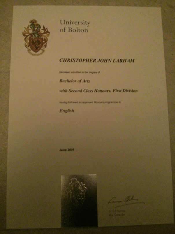 An image of Chris Larham's 2:1 English BA Degree certificate [2008].