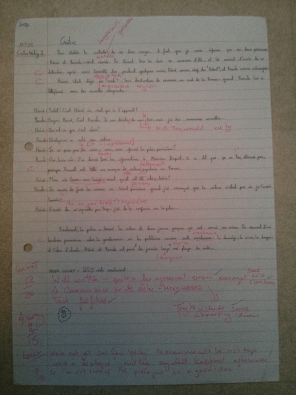 An image of Chris Larham's marked original piece of French A Level creative writing [30 out of 45, 2001/2002].