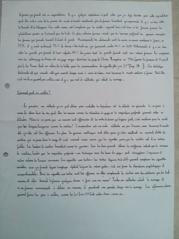 An image of the second page of Chris Larham's handwritten, verbatim French oral presentation on the subject of smoking in France [2000/2001].