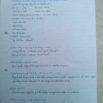 An image of Chris Larham's written responses to a series of trade cycle questions [2001].