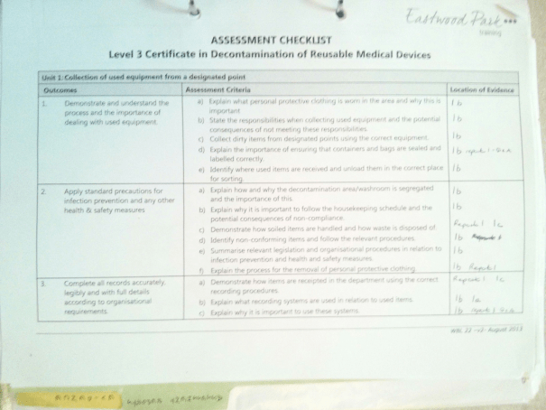 An image of the first page of the Assessment Checklist pertaining to Unit One of Chris Larham's 'BTEC Level 3 Certificate in Decontamination of Reusable Medical Devices' [2015].