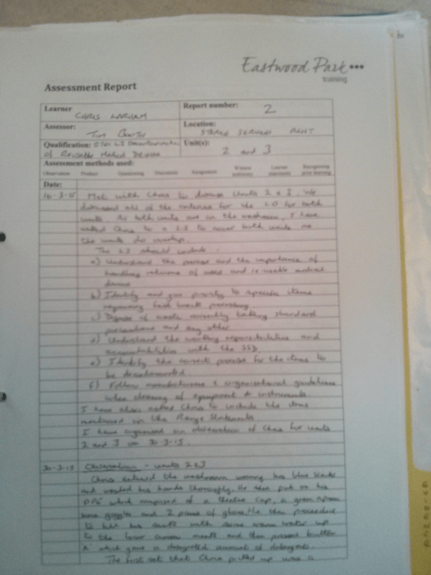 An image of the first page of the Assessment Report pertaining to Chris Larham's BTEC Units Two and Three [2015].