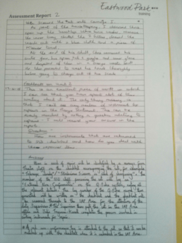 An image of the third page of the Assessment Report pertaining to Chris Larham's BTEC Units Two and Three [2015].
