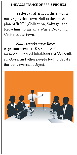 An image of a fictional newspaper's left-hand column [English].