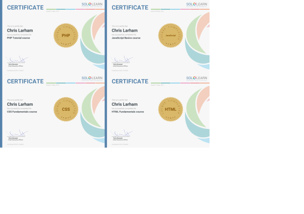 An image of Chris Larham's SoloLearn certification [2016 - 2018].