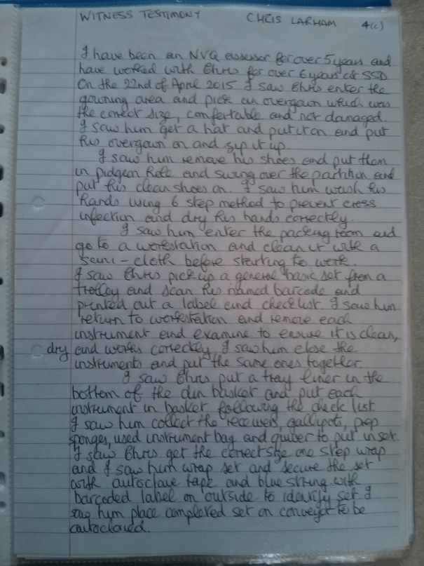 An image of the first page of the Witness Testimony pertaining to BTEC Unit Four [2015].