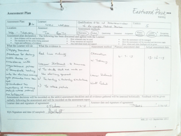 An image of Assessment Plan Number Four, pertaining to Chris Larham's BTEC Unit Five [2015].