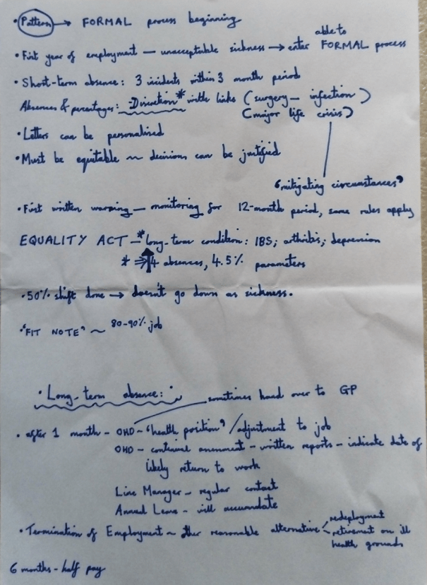 Image of the second page of Chris Larham's handwritten notes, taken on 31.1.17 when attending a session entitled 'Managing Sickness and Other Absences in the Workplace'.