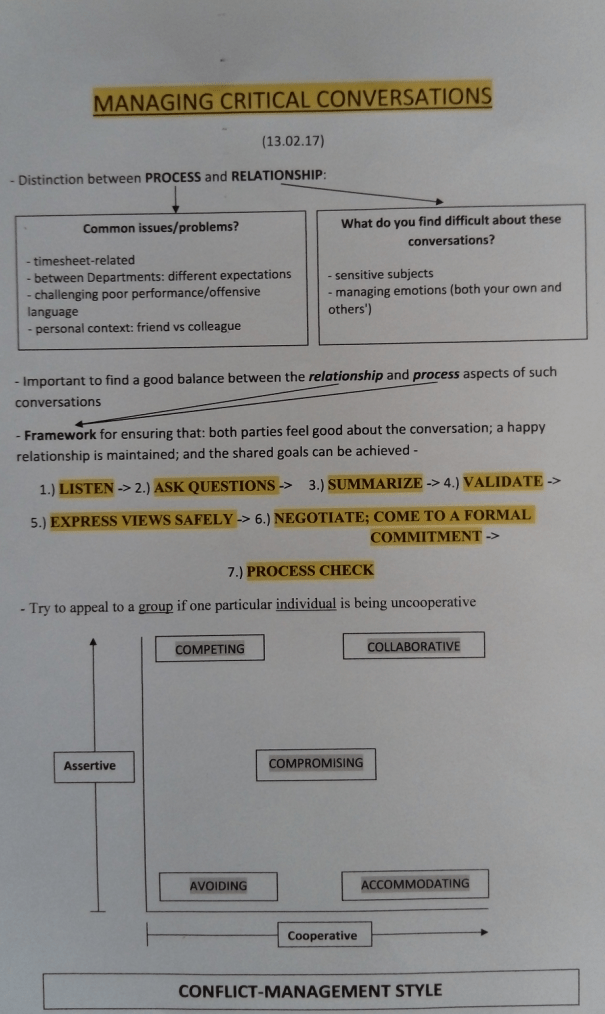 An image of the first page of the notes typed up by Chris Larham after attending a session entitled 'Managing Critical Conversations' on 13.2.17.