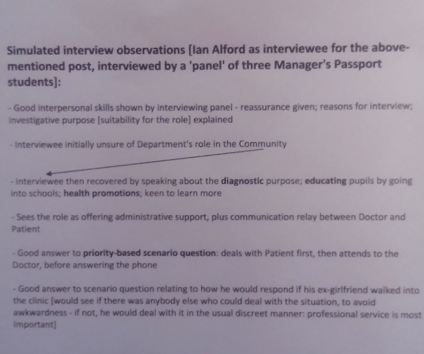 Image of the fourth page of the notes typed up by Chris Larham after attending a session entitled 'Values-based Recruitment and Selection' on 14.2.17.