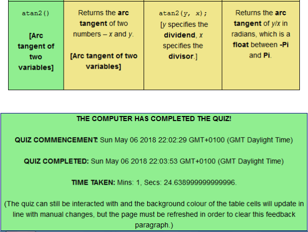 Example of feedback on a 'computer-completed' quiz.