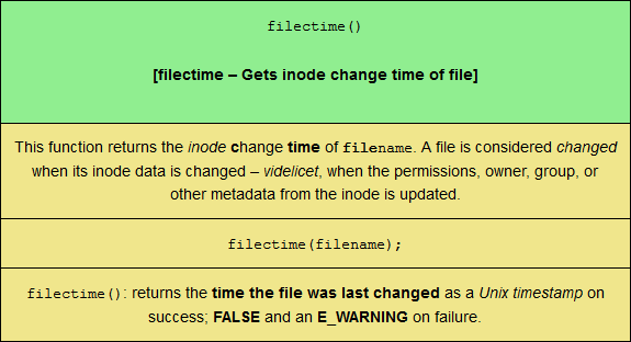 The filectime PHP filesystem function, sized for mobile viewing.