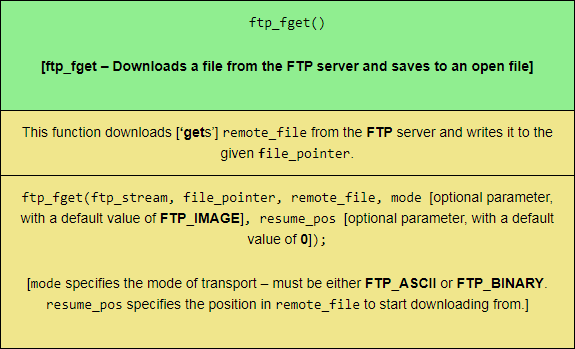 The ftp_fget PHP FTP function, sized for mobile viewing.