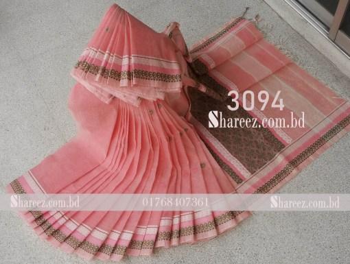 Cotton Saree Nokshi Work 3094