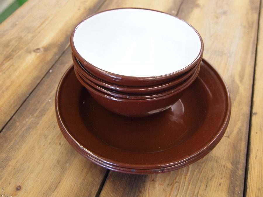 Enamel Bowls And Plates
