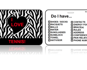 Sports Club Bag Tags Love Tennis Zebra Print