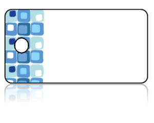 Create Design Key Tags Blue Modern Cubes Pattern Border