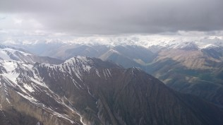 The head of the Tegri valley, beyond is Ossetia