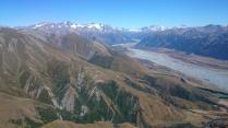 Mt Arrowsmith, the Rakaia, and my landing below