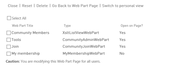 CommunityWebParts