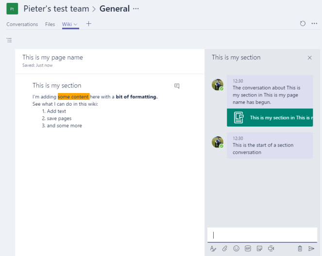 Office 365 - Microsoft Teams - a look under the hood of the wiki pages 7