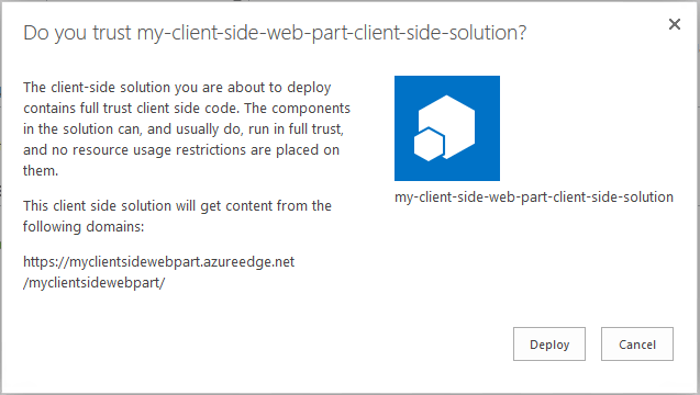 Office 365 - SharePoint - Create a Client Side Web Part using SPFx and CDN 29