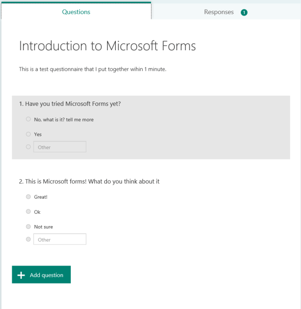 Office 365 - Microsoft Forms is now in preview 2