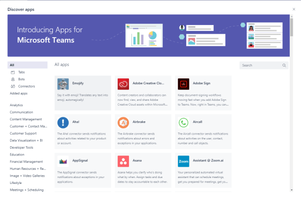 Microsoft Teams - Discover Bots has been replaced by Discover Apps 3