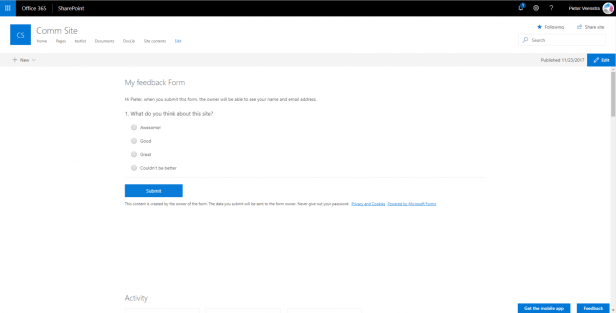 Create a feedback form with SharePoint Online and Microsoft Forms 9
