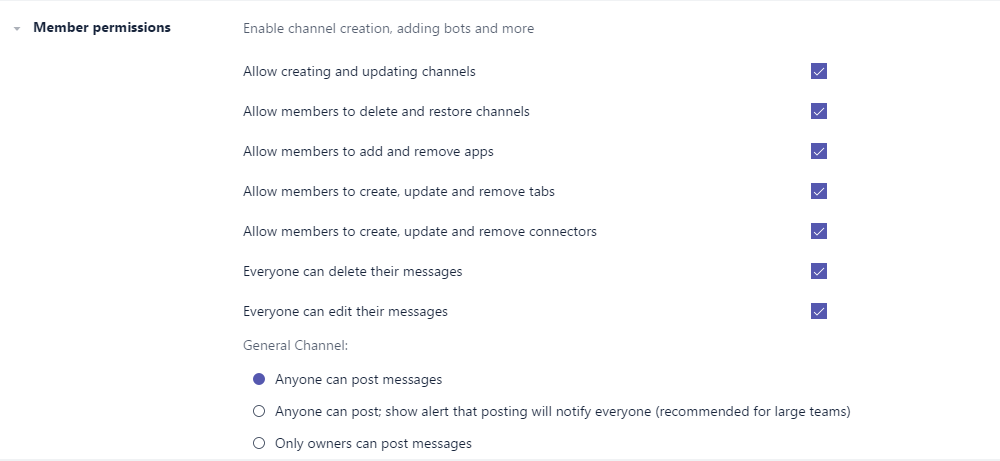 Microsoft Teams General channel settings