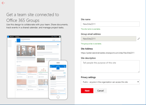 Office 365 - Create a new SharePoint Online team site and  .... I'm lost in a black hole! 1