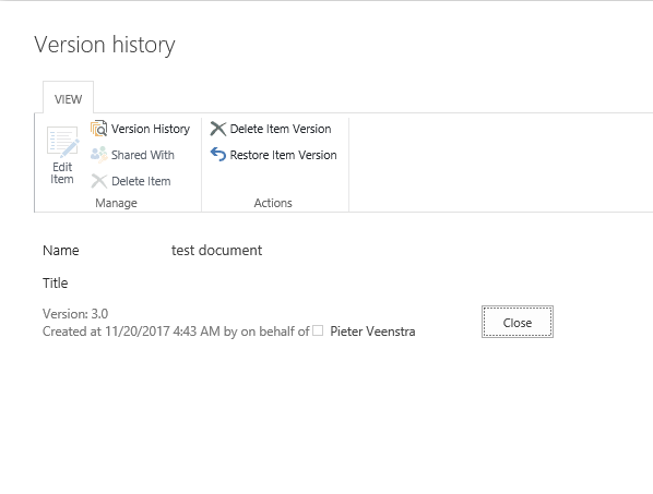Office 365 - SharePoint Online - Compare different versions of a document. Microsoft Office 365, Microsoft SharePoint Online versionhistory3