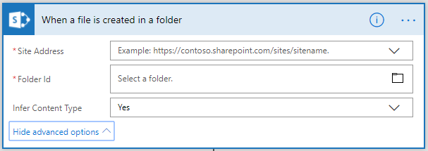 When a file is created in a folder with Infer Content Type