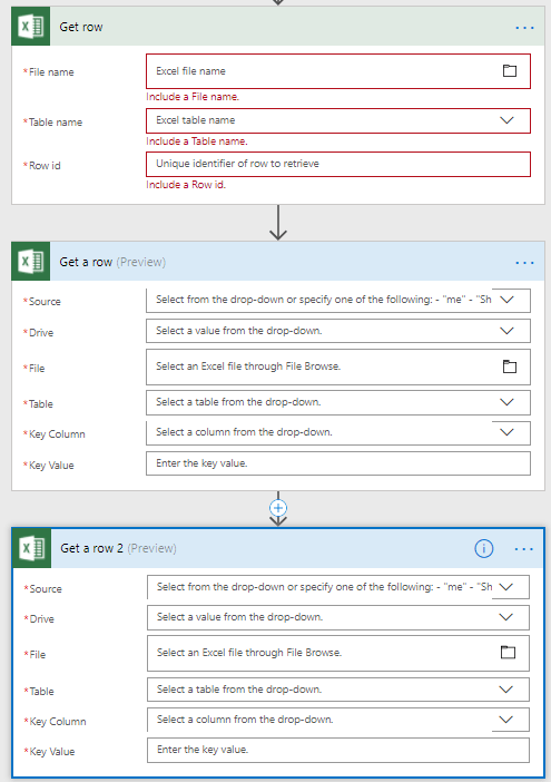 3 Get row actions in the Excel connectors in Microsoft Flow.