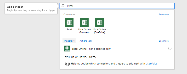 Triggers available in Excel connectors