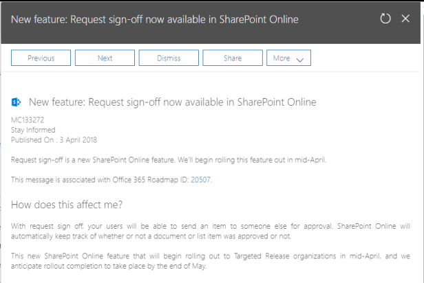 SharePoint Online - Microsoft Flow - Request Sign Off 1