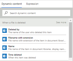 When a file is deleted properties in dynamic content
