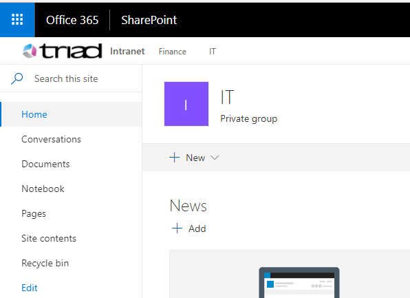 Hubsite created in SharePoint