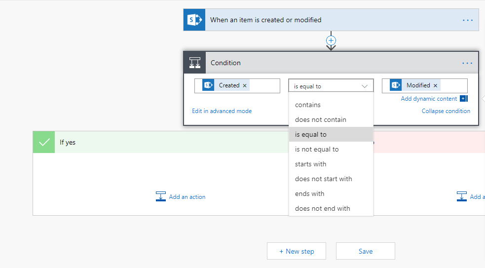 Comparing dates from a SharePoint trigger don't show all comparison operations
